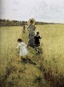 Ilia Efimovich Repin In the field of small road oil painting picture wholesale