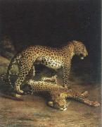 Jacques-Laurent Agasse two leopards playing oil painting artist