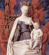 Jean Fouquet right wing of Melun diptychVirgin and Child Surrounded by Angels Showing Charles VII mistress Agnes Sorel oil
