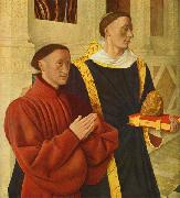 Jean Fouquet left wing of Melun diptych depicts Etienne Chevalier with his patron saint St. Stephen oil