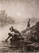 Jean Francois Millet Peasant get the water oil painting picture wholesale