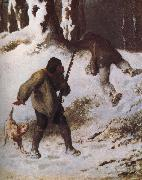 Jean Francois Millet The thief in the snow oil painting picture wholesale