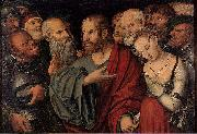 Lucas Cranach the Younger Christ and the Woman Taken in Adultery oil painting picture wholesale