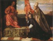 Titian By Pope Alexander six th as the Saint Mala enterprise's hero were introduced that kneels in front of Saint Peter's Ge the cloths wears Salol oil painting picture wholesale
