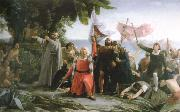 dioscoro teofilo de la puebla tolin the first landing of christopher columbus in america oil painting