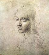 LEONARDO da Vinci Head of a girl oil painting reproduction