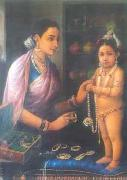 Raja Ravi Varma Yashoda decorating Krishna oil painting reproduction