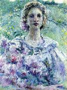 Robert Reid Girl with Flowers oil painting reproduction