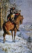 alexis de tocqueville a mounted bugler blowing a large bell instrument. oil painting picture wholesale