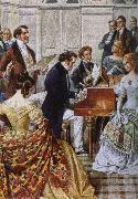 franz von schober play the piano when Schubert oil painting picture wholesale