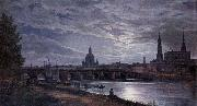 johann christian Claussen Dahl View of Dresden at Full Moon oil painting artist