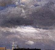johann christian Claussen Dahl Cloud Study, Thunder Clouds over the Palace Tower at Dresden oil painting artist