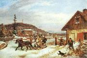 Cornelius Krieghoff The Toll Gate, oil