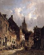 Adrianus Eversen A Dutch Street Scene oil