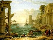 Claude Lorrain seaport with the embarkation of the queen of sheba oil painting on canvas