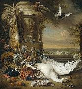 Jan Weenix A monkey and a dog beside dead game and fruit, with the estate of Rijxdorp near Wassenaar in the background oil painting artist