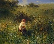 Ludwig Knaus Girl in a Field oil painting artist