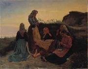 Michael Ancher Girls gathered on Sladrebakken a summernight eve oil painting reproduction