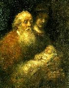 REMBRANDT Harmenszoon van Rijn simeon i templet oil painting on canvas