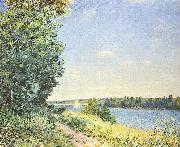 Alfred Sisley Normandie, Pfad am Wasser, abends bei Sahurs oil painting reproduction