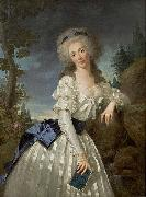 Antoine Vestier Portrait of a Lady with a Book, Next to a River Source oil painting artist