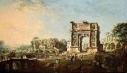 Antonio Joli The Arch of Trajan at Benevento oil on canvas painting by Antonio Joli. oil