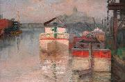 Carl Wagner Coal Barges on the Lower Schuylkill oil painting artist