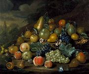 Charles Collins A Still Life of Pears, Peaches and Grapes oil