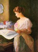 Ellen Day Hale Morning News. Private collection oil painting artist