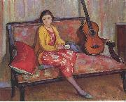 Henry Lebasques Nono and a Guitar oil painting reproduction