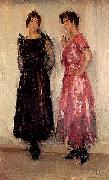 Isaac Israels Two models, Epi and Gertie, in the Amsterdam Fashion House Hirsch oil painting artist
