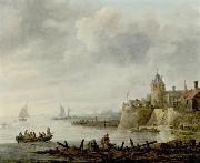 Jan van  Goyen River Scene with a Fortified Shore Sweden oil painting artist