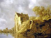 Jan van  Goyen River landscape with a ruin Sweden oil painting artist