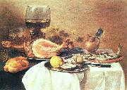 Pieter Claesz A ham, a herring, oysters, a lemon, bread, onions, grapes and a roemer oil painting artist