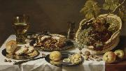 Pieter Claesz Tabletop Still Life with Mince Pie and Basket of Grapes oil painting artist