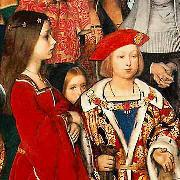 Richard Burchett Erasmus of Rotterdam visiting the children of Henry VII at Eltham Palace in 1499 and presenting Prince Henry with a written tribute. oil painting artist