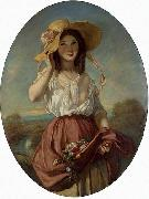 Camille Roqueplan Girl with flowers oil painting reproduction