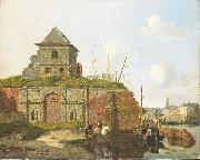 Carel Jacobus Behr Town wall with gunpowder arsenal oil
