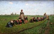 E.Claus Flaxweeding in Flanders oil painting