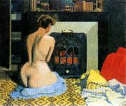 Felix  Vallotton Naked Woman Before Salamander Stove oil painting reproduction