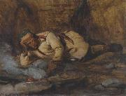 Francois Auguste Biard A Laplander asleep by a fire oil painting artist