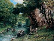 Gustave Courbet Roe Deer at a Stream Sweden oil painting artist