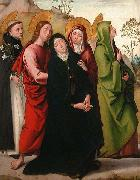 Juan de Borgona The Virgin, Saint John the Evangelist, two female saints and Saint Dominic de Guzman. oil painting artist