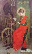 Marianne Stokes St Elizabeth of Hungary Spinning for the Poor oil painting artist