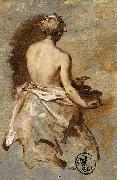 Nicolas Vleughels Young Woman with a Nude Back Presenting a Bowl oil painting artist