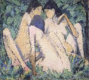 Otto Mueller Three Girls in a Wood oil painting artist