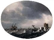 Simon de Vlieger Stormy Sea oil painting artist
