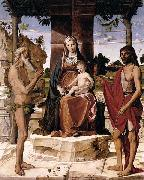 Bartolomeo Montagna Madonna and Child under a Pergola with St John the Baptist and St Onofrius oil
