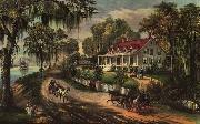 Currier and Ives A Home on the Mississippi oil