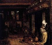 Esaias Boursse Dutch Interior with Woman Sewing oil painting artist